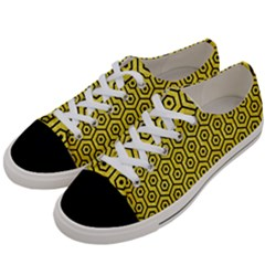 Hexagon1 Black Marble & Gold Glitter (r) Women s Low Top Canvas Sneakers by trendistuff