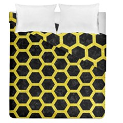 Hexagon2 Black Marble & Gold Glitter Duvet Cover Double Side (queen Size) by trendistuff