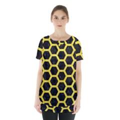 Hexagon2 Black Marble & Gold Glitter Skirt Hem Sports Top by trendistuff