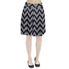 Chevron9 Black Marble & Gray Colored Pencil (r) Pleated Skirt by trendistuff