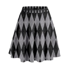 Diamond1 Black Marble & Gray Colored Pencil High Waist Skirt by trendistuff