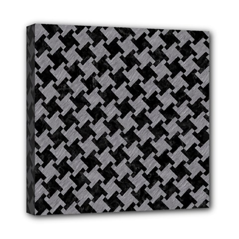 Houndstooth2 Black Marble & Gray Colored Pencil Mini Canvas 8  X 8  by trendistuff