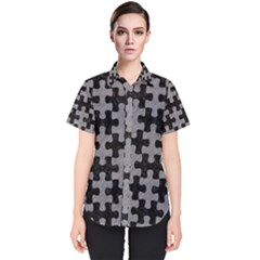 Puzzle1 Black Marble & Gray Colored Pencil Women s Short Sleeve Shirt