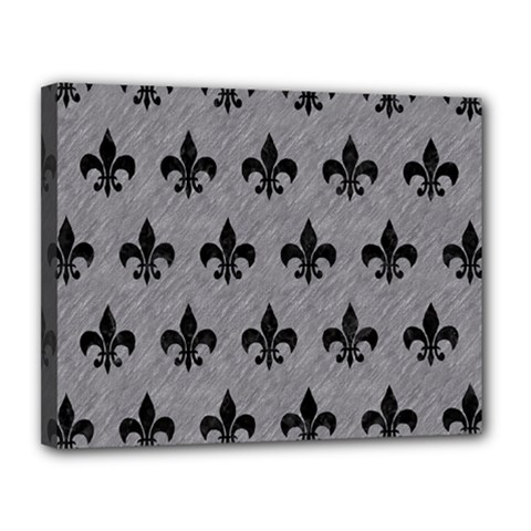Royal1 Black Marble & Gray Colored Pencil Canvas 14  X 11  by trendistuff