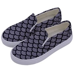 Scales1 Black Marble & Gray Colored Pencil (r) Kids  Canvas Slip Ons by trendistuff