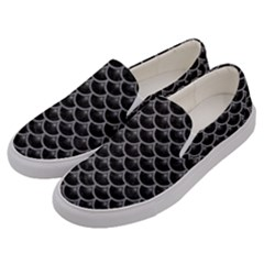 Scales3 Black Marble & Gray Colored Pencil Men s Canvas Slip Ons by trendistuff