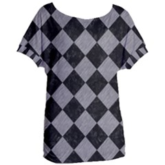 Square2 Black Marble & Gray Colored Pencil Women s Oversized Tee