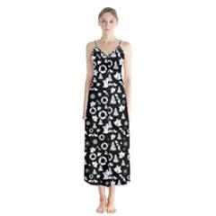 Xmas Pattern Button Up Chiffon Maxi Dress by Valentinaart
