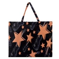 Guitar Star Rain Zipper Large Tote Bag by SpaceyQT
