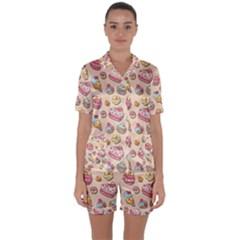 Sweet Pattern Satin Short Sleeve Pyjamas Set