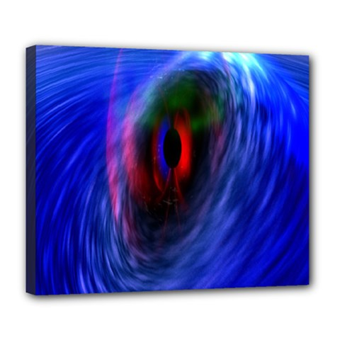 Black Hole Blue Space Galaxy Deluxe Canvas 24  X 20   by Mariart