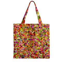 Multicolored Mixcolor Geometric Pattern Zipper Grocery Tote Bag by paulaoliveiradesign