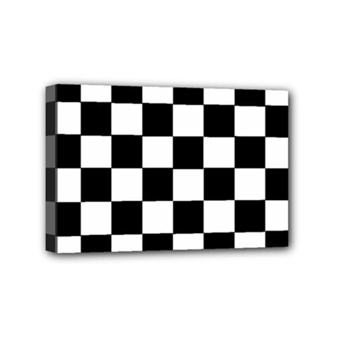 Grid Domino Bank And Black Mini Canvas 6  X 4  by Nexatart