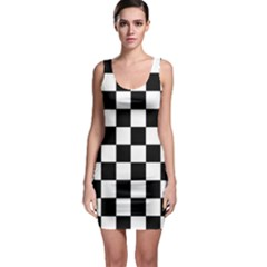 Grid Domino Bank And Black Bodycon Dress by Nexatart