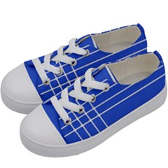 Stripes Pattern Template Texture Blue Kids  Low Top Canvas Sneakers by Nexatart