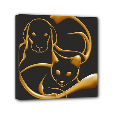Gold Dog Cat Animal Jewel Dor¨| Mini Canvas 6  X 6  by Nexatart