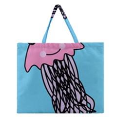 Jellyfish Cute Illustration Cartoon Zipper Large Tote Bag by Nexatart