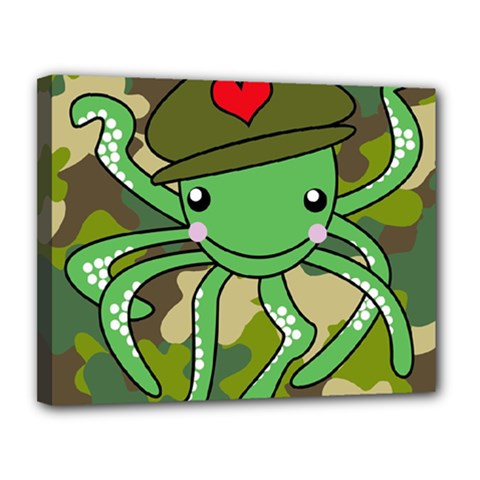 Octopus Army Ocean Marine Sea Canvas 14  X 11  by Nexatart