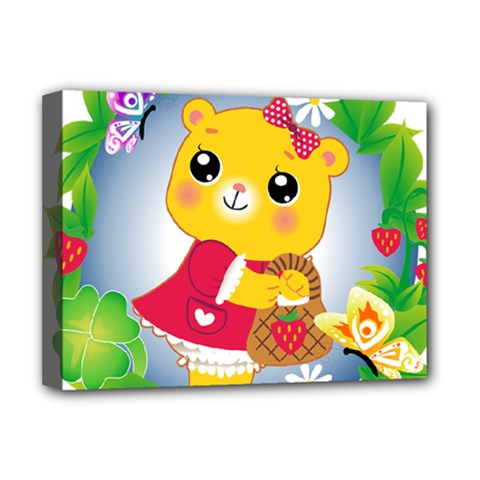 Bear Strawberries Deluxe Canvas 16  X 12   by Nexatart