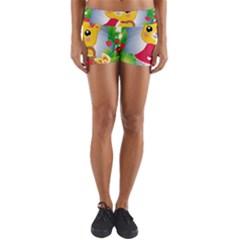 Bear Strawberries Yoga Shorts by Nexatart