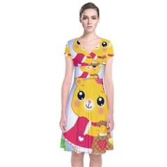 Bear Strawberries Short Sleeve Front Wrap Dress by Nexatart