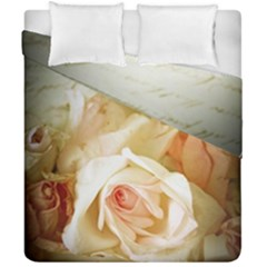 Roses Vintage Playful Romantic Duvet Cover Double Side (california King Size) by Nexatart