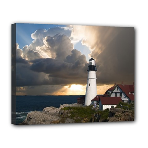 Lighthouse Beacon Light House Canvas 14  X 11  by Nexatart