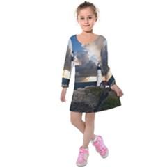 Lighthouse Beacon Light House Kids  Long Sleeve Velvet Dress by Nexatart
