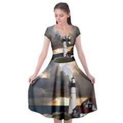 Lighthouse Beacon Light House Cap Sleeve Wrap Front Dress by Nexatart