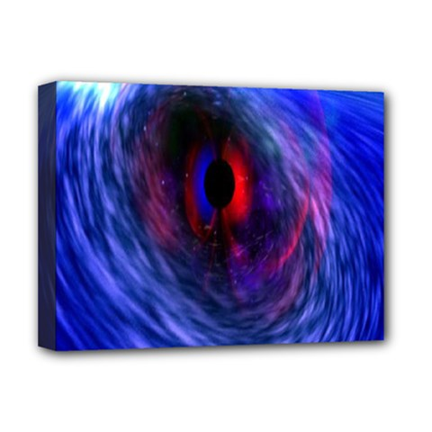 Blue Red Eye Space Hole Galaxy Deluxe Canvas 16  X 12   by Mariart