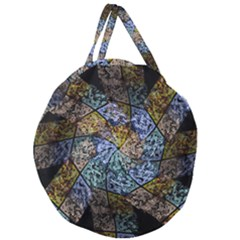 Multi Color Tile Twirl Octagon Giant Round Zipper Tote by Nexatart
