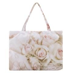 Pastel Roses Antique Vintage Zipper Medium Tote Bag by Nexatart