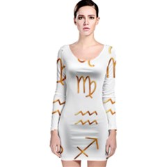 Signs Of The Zodiac Zodiac Aries Long Sleeve Bodycon Dress