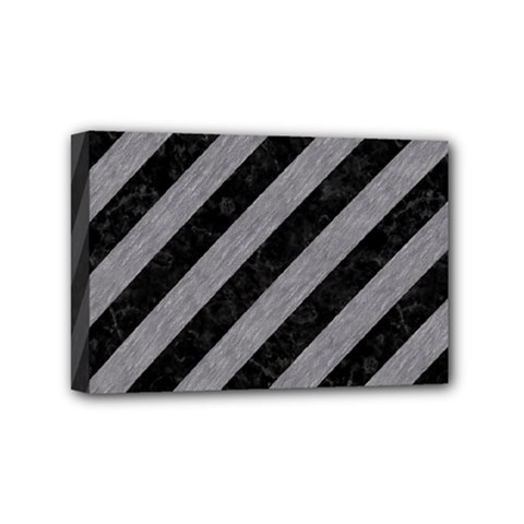 Stripes3 Black Marble & Gray Colored Pencil Mini Canvas 6  X 4  by trendistuff