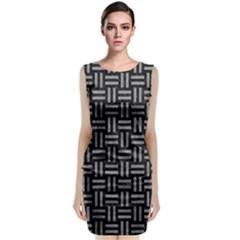 Woven1 Black Marble & Gray Colored Pencil Classic Sleeveless Midi Dress