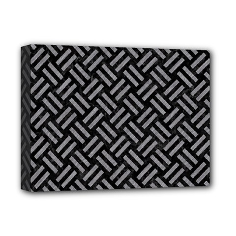 Woven2 Black Marble & Gray Colored Pencil Deluxe Canvas 16  X 12   by trendistuff