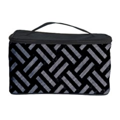 Woven2 Black Marble & Gray Colored Pencil Cosmetic Storage Case by trendistuff