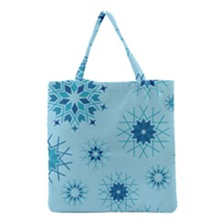 Blue Winter Snowflakes Star Grocery Tote Bag by Mariart