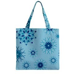 Blue Winter Snowflakes Star Zipper Grocery Tote Bag by Mariart