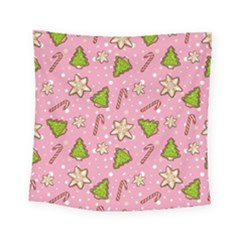 Ginger Cookies Christmas Pattern Square Tapestry (small) by Valentinaart