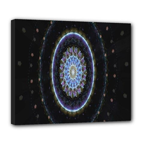 Colorful Hypnotic Circular Rings Space Deluxe Canvas 24  X 20   by Mariart