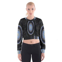 Colorful Hypnotic Circular Rings Space Cropped Sweatshirt by Mariart