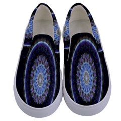 Colorful Hypnotic Circular Rings Space Kids  Canvas Slip Ons