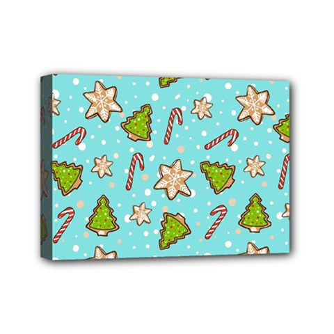 Ginger Cookies Christmas Pattern Mini Canvas 7  X 5  by Valentinaart