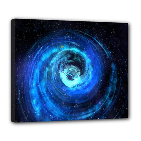 Blue Black Hole Galaxy Deluxe Canvas 24  X 20   by Mariart
