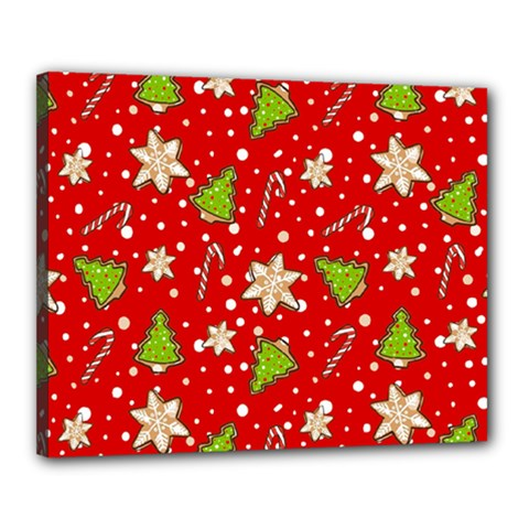 Ginger Cookies Christmas Pattern Canvas 20  X 16  by Valentinaart