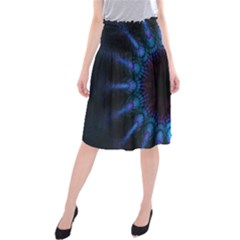 Exploding Flower Tunnel Nature Amazing Beauty Animation Blue Purple Midi Beach Skirt by Mariart