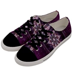 Flower Twirl Star Space Purple Men s Low Top Canvas Sneakers by Mariart