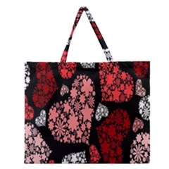 Floral Flower Heart Valentine Zipper Large Tote Bag by Mariart