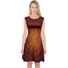 High Res Nostars Orange Gold Capsleeve Midi Dress by Mariart